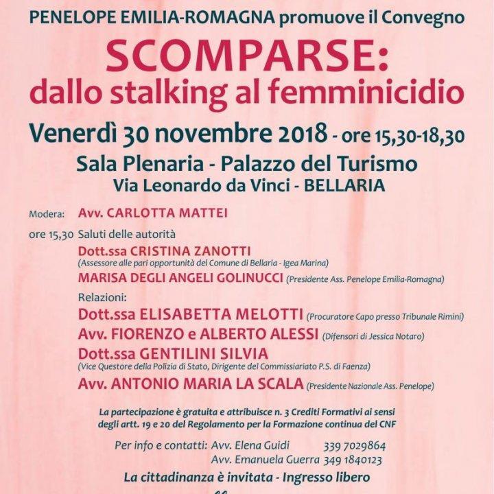 """CONVEGNO """"SCOMPARSE: dallo stalking al femminicidio"""""""